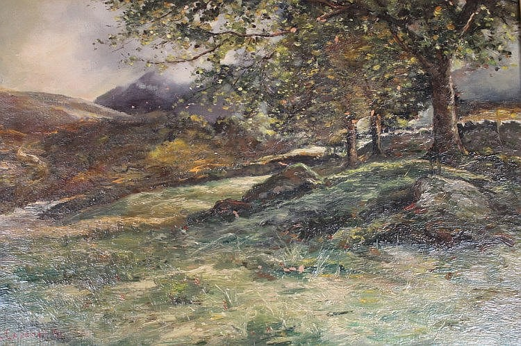 John Cairney (19thC). Landscape trees before hills and mountains, oil on canvas, signed and dated 41