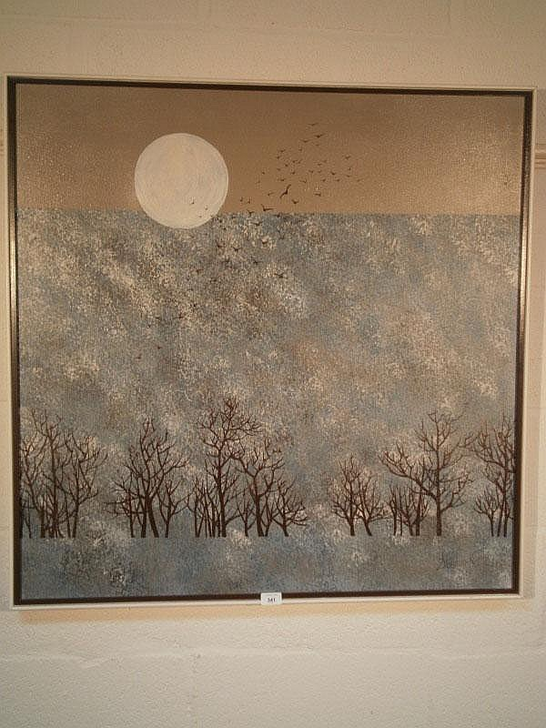 Stephen Kaye (20thC). Winter night, landscape, oil