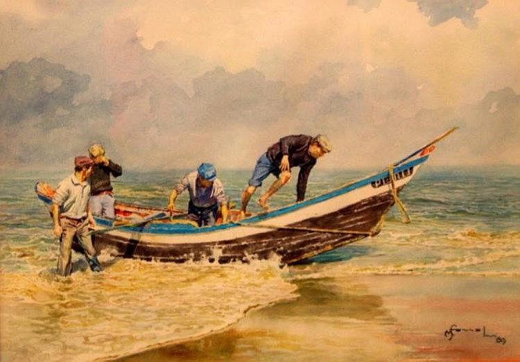 Manuel Ferreira. Praia do Furadouro, Ovar (Portugal), fishermen coming ashore, watercolour drawing,