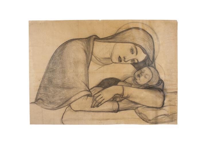 Jaume Bellmunt Trafach (1910 - 1992),  Coppia di disegni con figure di contadini.