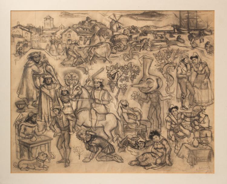 Jaume Bellmunt Trafach (1910 - 1992), Composizione con personaggi di storia popolare.