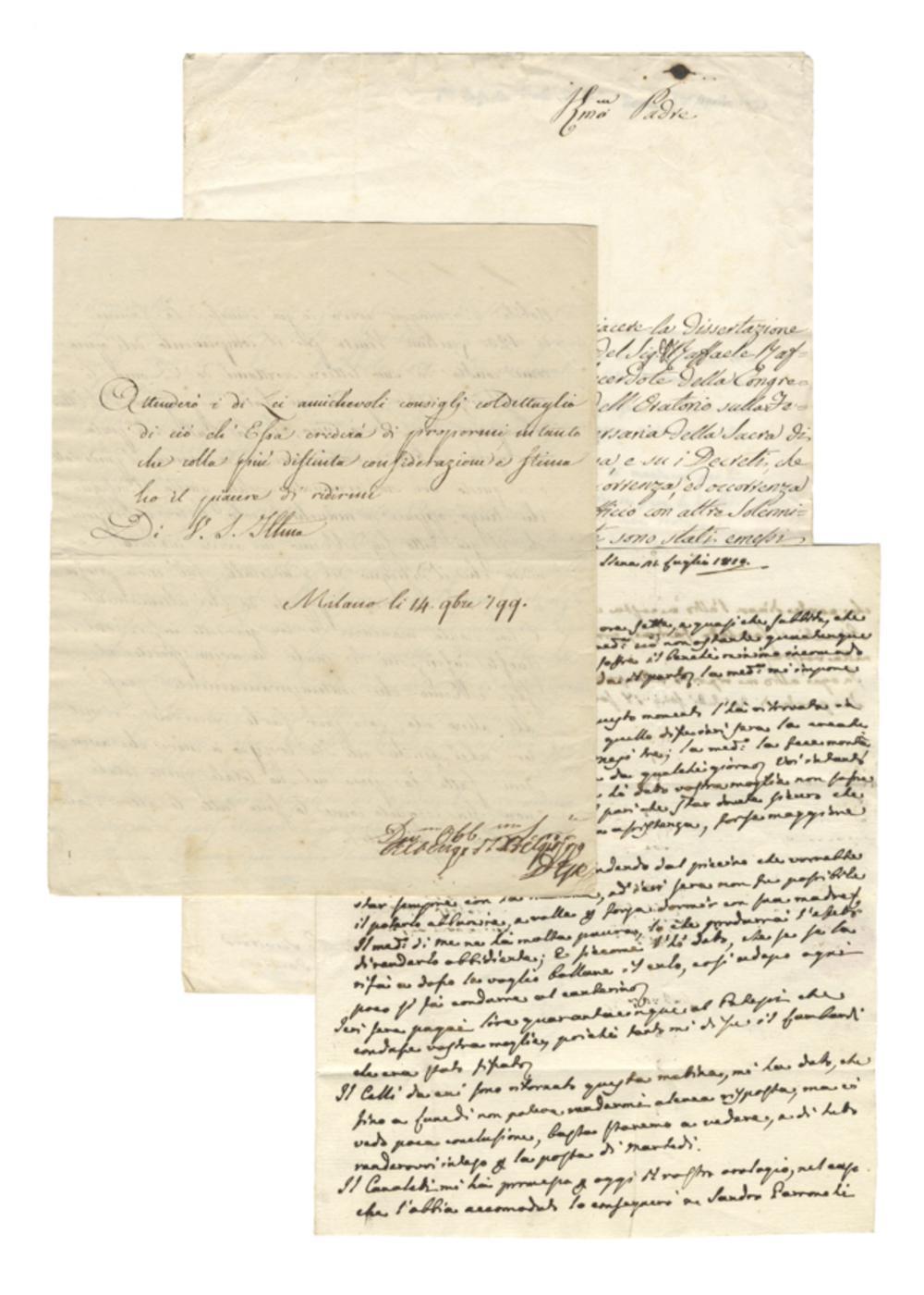 Corposa raccolta di lettere autografe e documenti vari. XVII – XIX secolo.