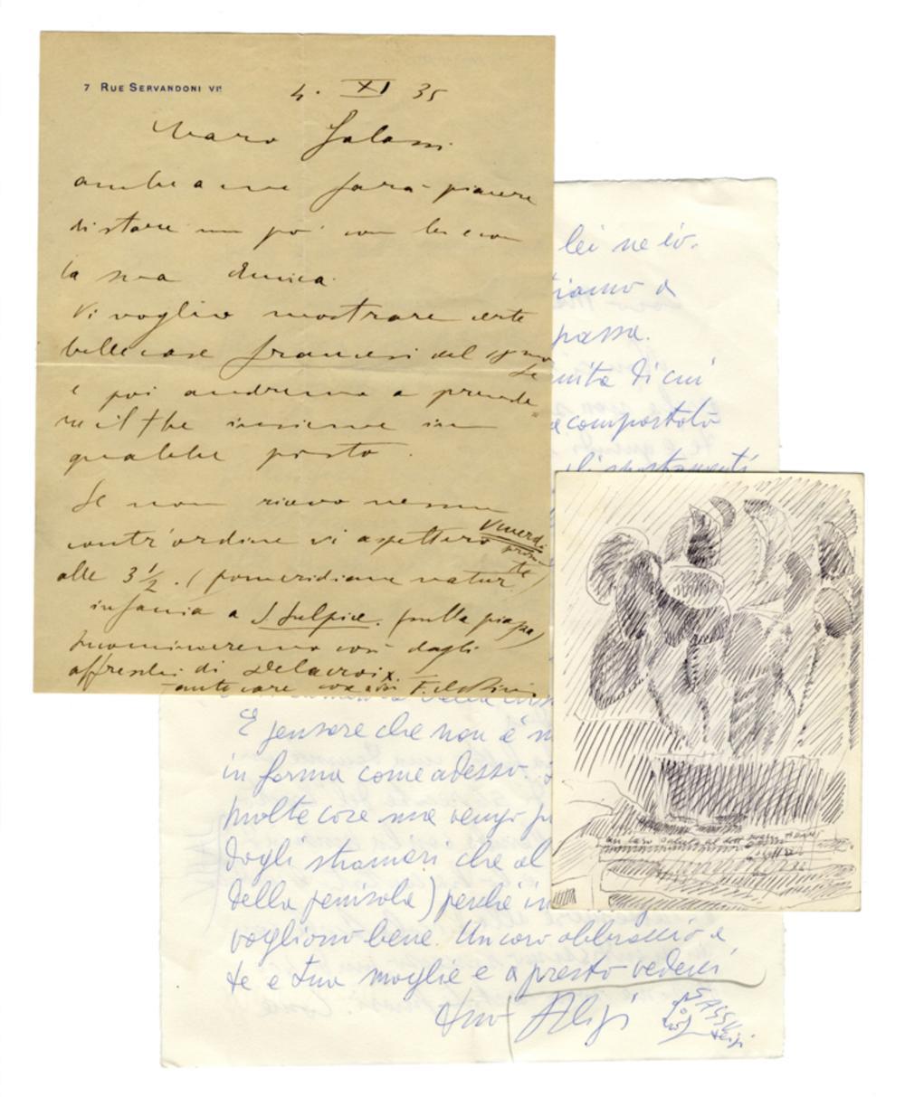 Raccolta di 7 lettere di pittori inviate a vari destinatari. XX secolo.