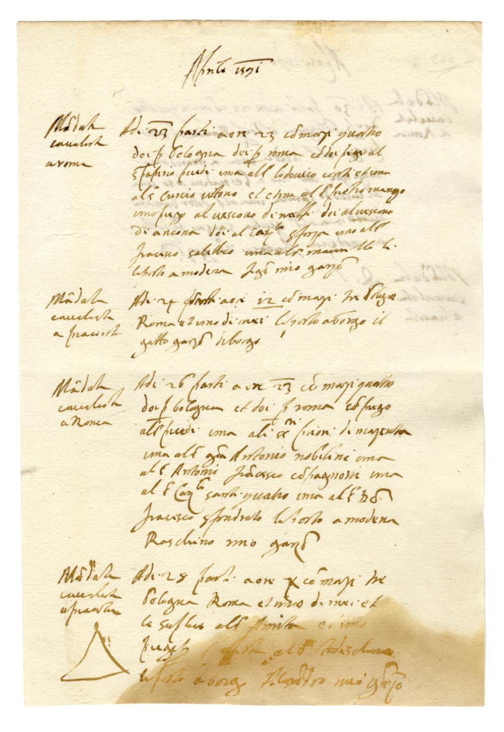 Raccolta di 12 carte manoscritte relative a corrieri postali. Seconda metà del XVI secolo.