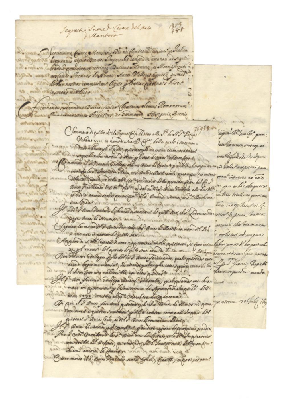 Raccolta di 4 manoscritti riguardanti la Guerra di successione di Mantova. 1628-1629