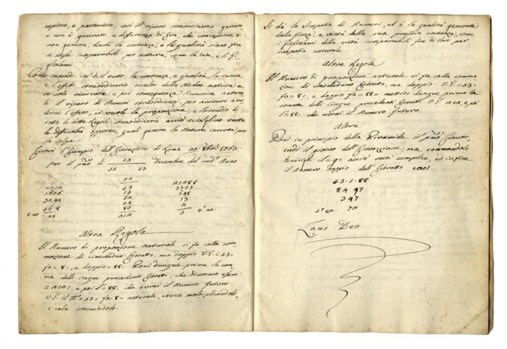 Benincasa Rutilio, Istruzioni straordinarie metaforiche a ca/pacità umana per li numeri del Lotto Fine XVIII, inizio XIX secolo.