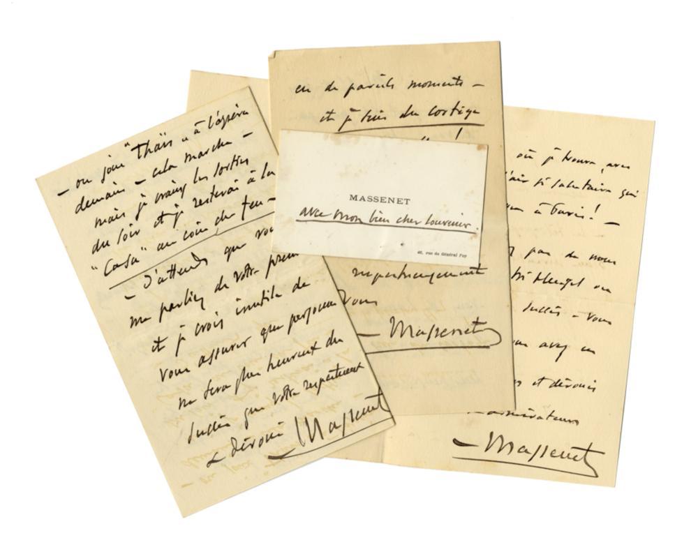 Massenet Jules, 3 lettere autografe. Datate 24 dicembre 1894, 6 gennaio e 18 gennaio 1895, Parigi.