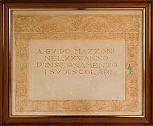 Oscar Ghiglia, Diploma: A Guido Mazzoni nel XXV anno d'insegnamento i suoi scolari. 1905