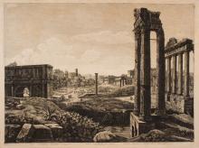 Luigi Rossini (1790 - 1875), Veduta generale del foro romano... 1821