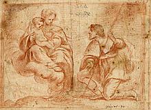 Alessandro Tiarini (1577 - 1668)[attribuito a], Madonna col Bambino adorata da San Rocco.
