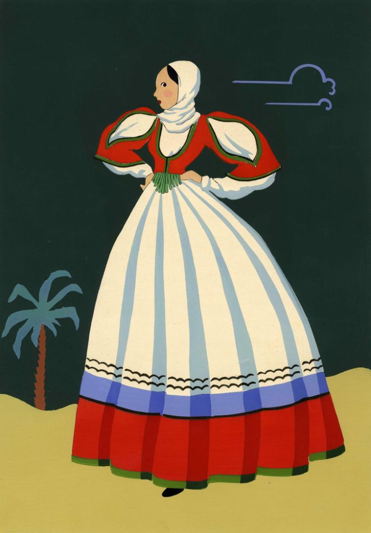 Giovanni Meschini (1888 - 1977), Donna in costume sardo.