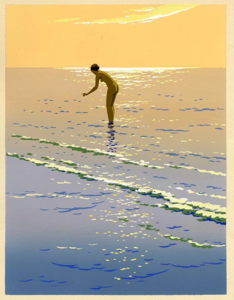 Giovanni Meschini (1888 - 1977), Bagnante in riva al mare.