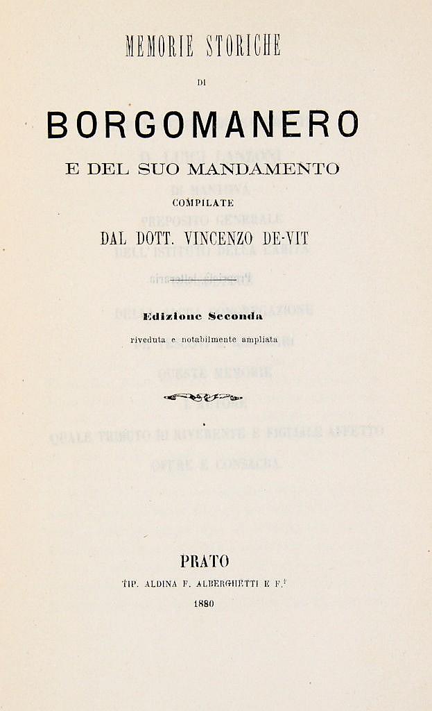 De Vit Vincenzo - Memorie storiche di Borgomanero e del suo mandamento.