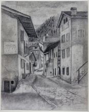 Ubaldo Oppi, Paesaggio montano con strada. 1926