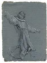 Bartolomeo Cesi, Santo francescano inginocchiato con le braccia alzate. 1590-1600 ca.