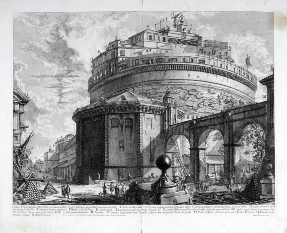 Giovanni Battista Piranesi, Veduta del Mausoleo d'Elio Adriano (ora chiamato Castello S. Angelo) nella parte opposta alla Facciata dentro al Castello.