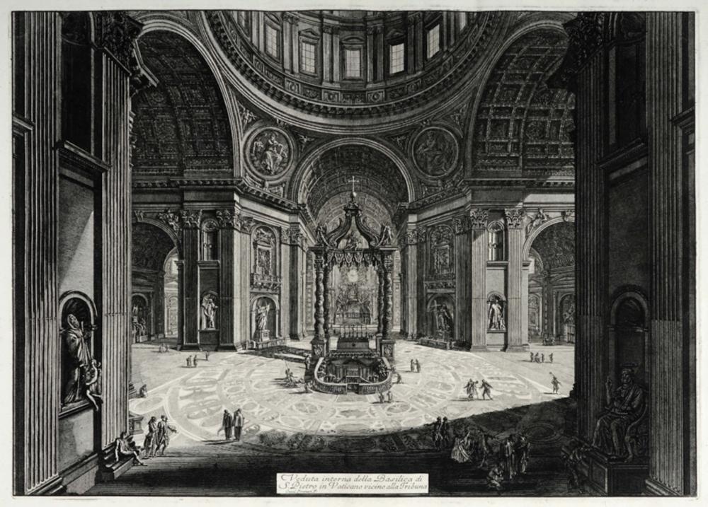Giovanni Battista Piranesi, Veduta interna della Basilica di S. Pietro in Vaticano vicino alla Tribuna.