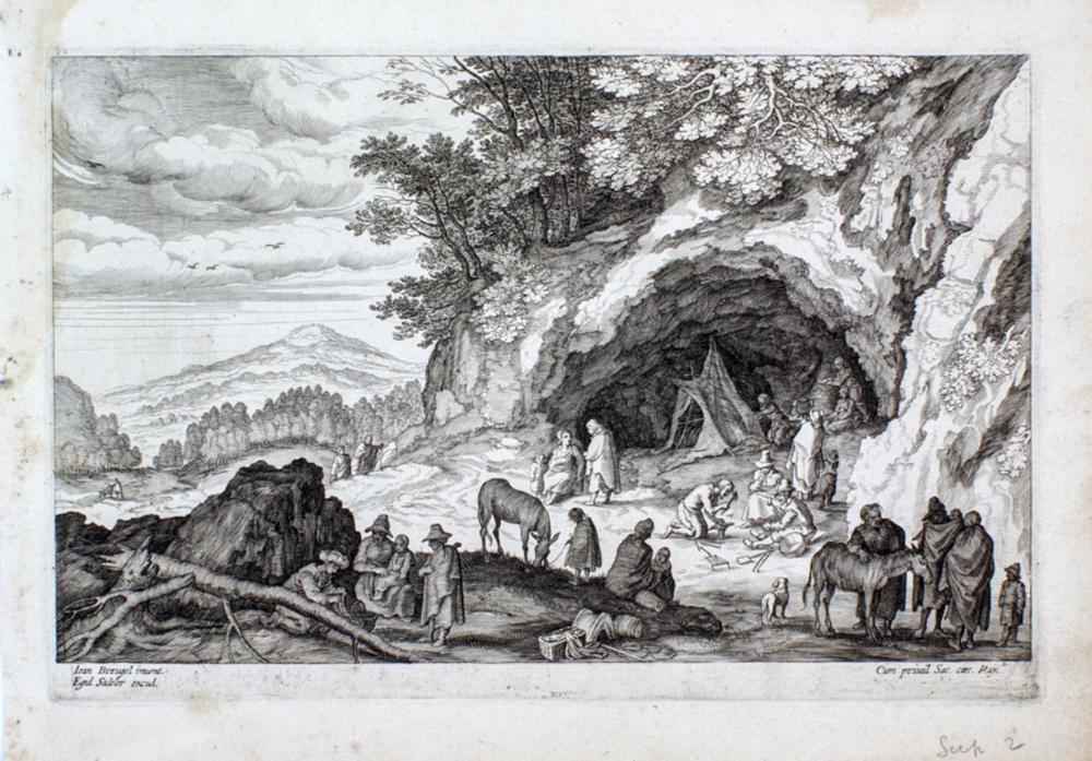 Aegidius Sadeler II, Paesaggio montano con accampamento di zingari / Paesaggio fluviale con barche. 1595 ca.