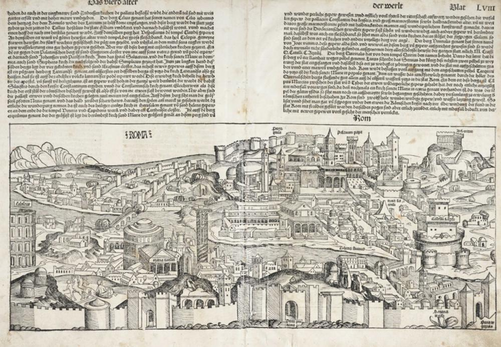 Hartmann Schedel, Das vierd alter der werlt [Blat LVIII] Roma / [Blat LVII] Genua (verso).