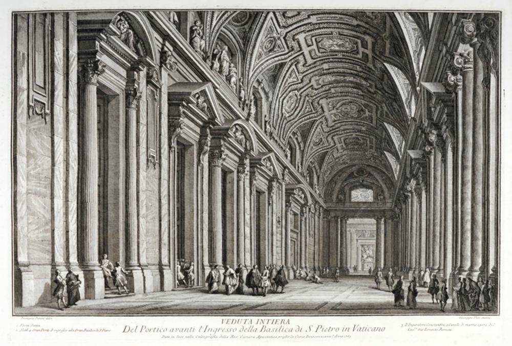 Giuseppe Vasi, Veduta Intiera Del Portico avanti l'Ingresso della Basilica di S. Pietro in Vaticano.