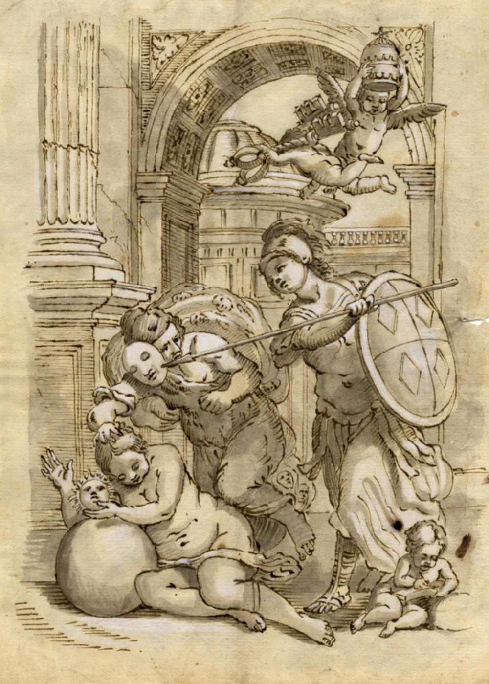 Anonimo del XVII secolo, Allegoria con Minerva che toglie la maschera all'inganno.