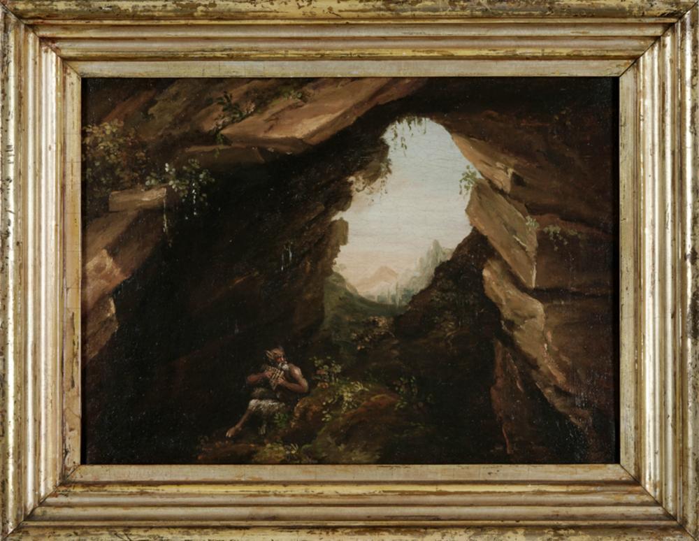 Anonimo della fine del XVIII secolo, Pan suona la siringa all'interno di una grotta.