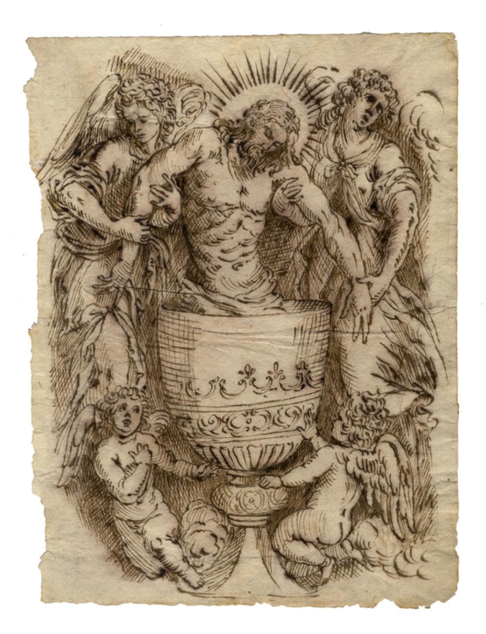 Jacopo Negretti (detto Palma il Giovane) [cerchia di], Cristo entro un calice sorretto da angeli. 1620 ca.