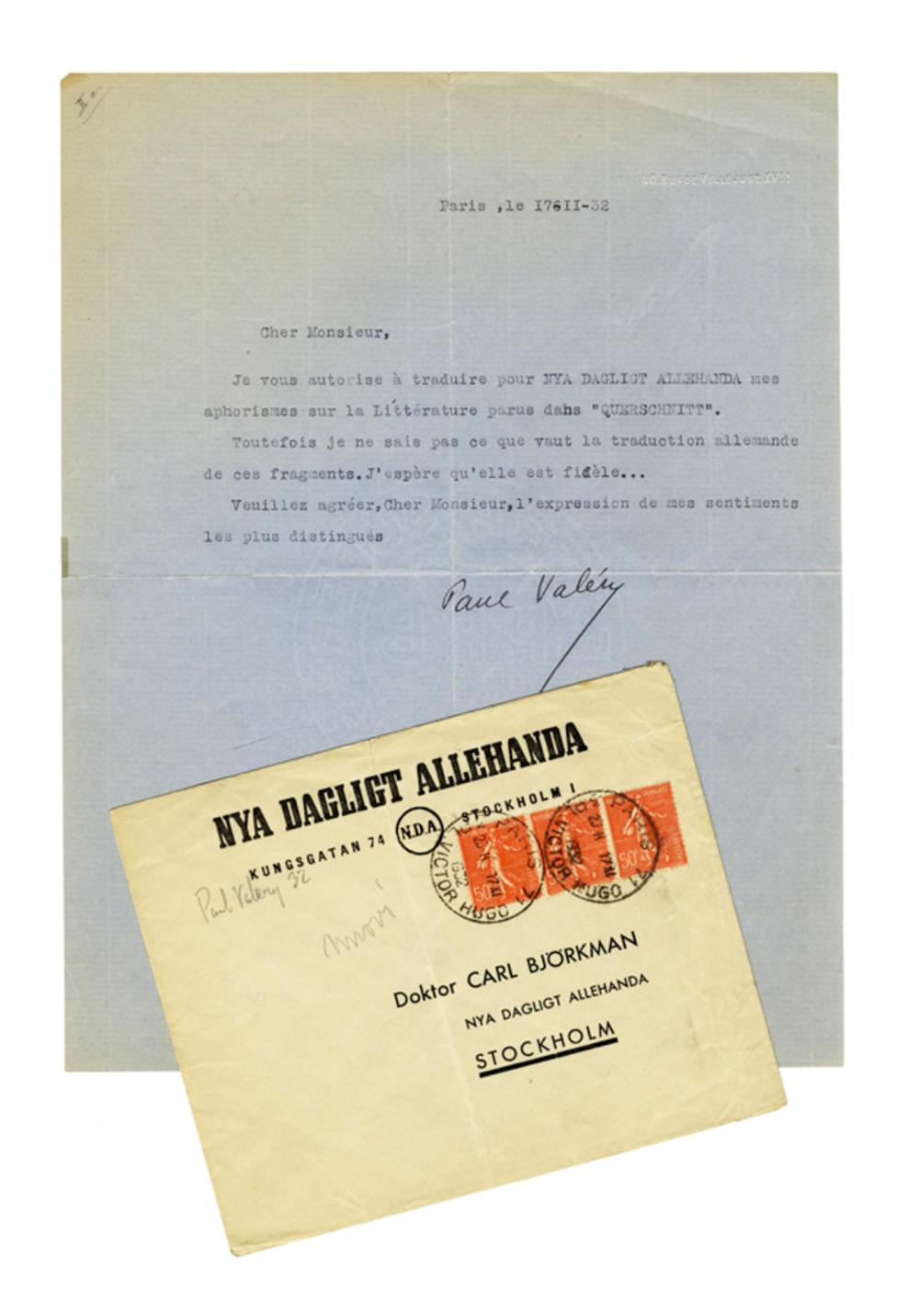 Valéry Paul, Lettera dattiloscritta con firma autografa inviata a Carl Bjorkman. Datata 17 febbraio 1932