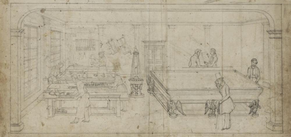 Anonimo del XIX secolo, Sala da biliardo.