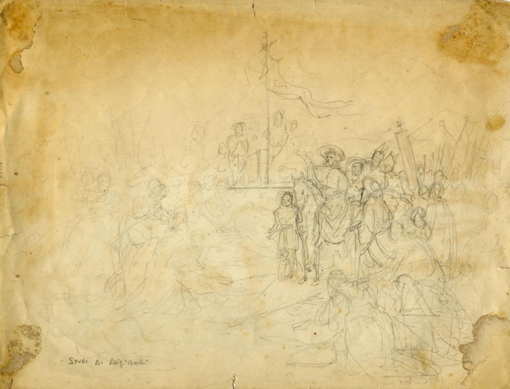 Luigi Bechi, 2 bozzetti su 1 foglio. Seconda metà del XIX secolo.