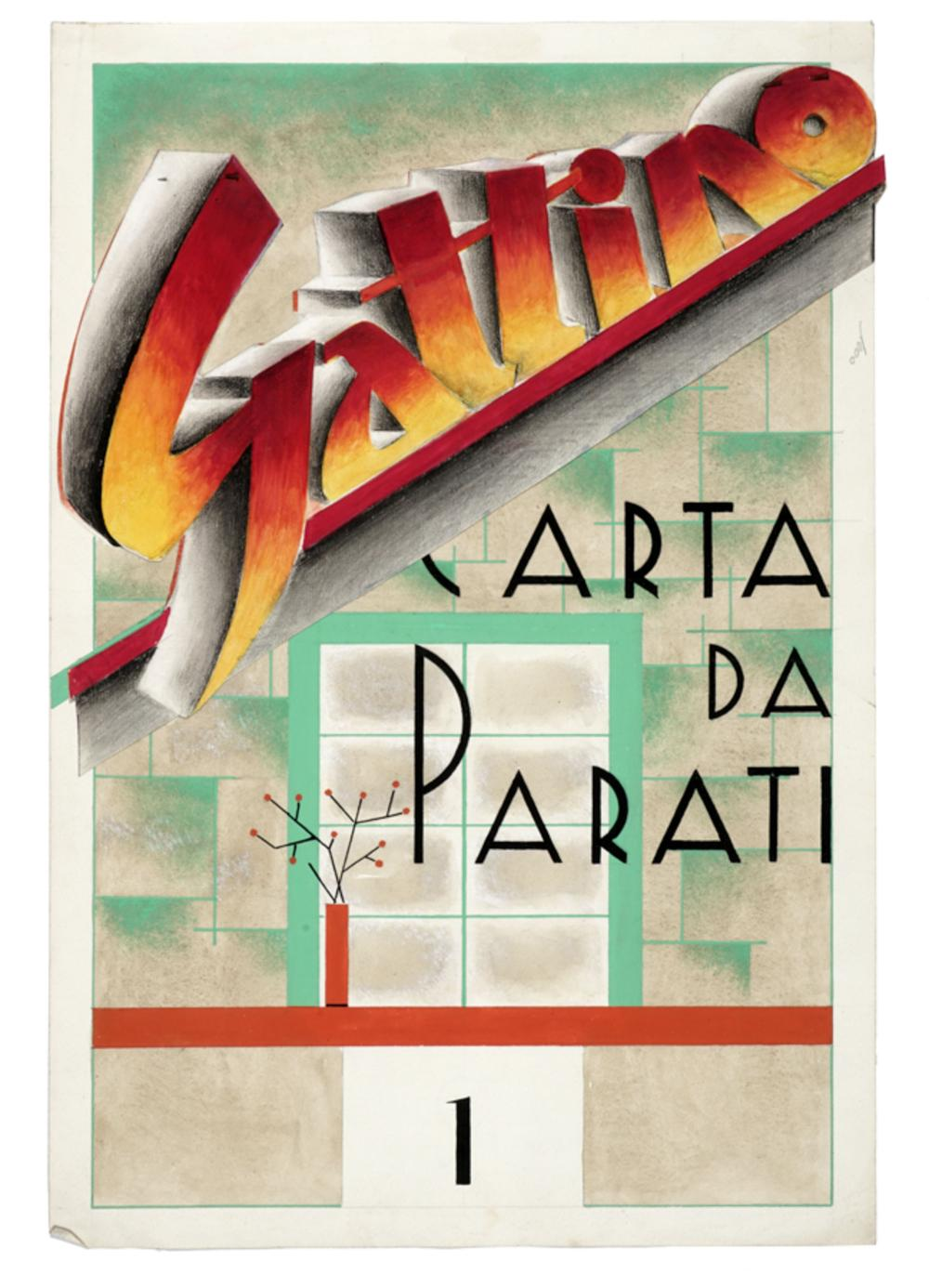 E. Massaro, Lotto composto di 2 progetti per Gattino Carta da Parati.