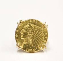 $2.50 1/4 EAGLE GOLD COIN ON 14K LADIES RING USA 1908