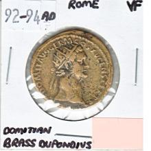 92-94AD Roman Domitian Brass Dupondius