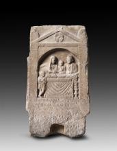 Roman marble grave relief depicting a family