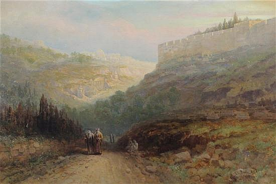 Samuel Lawson Booth (1836-1928) View of Jerusalem with travellers on the roadside, 16 x 24in.