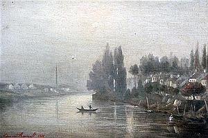 Edmond Renault (French, 1829-1905) River landscape, 8.25 x 12in.