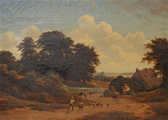Attributed to Georg Haeselich (German, 1806-1894) Herdsman in a landscape, 14 x 19.5in.
