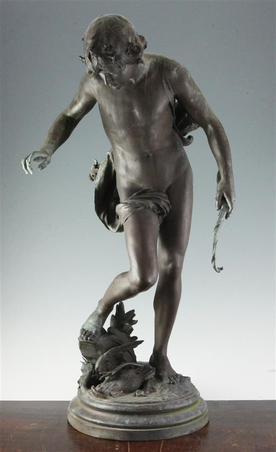 Eugene Quinton (d.1892). A 19th century French F. Barbedienne bronze figure of a classical archer, H.29in.