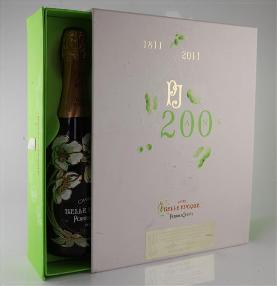 One bottle of Cuvee Belle Epoque Perrier-Jouet Champagne and two glasses