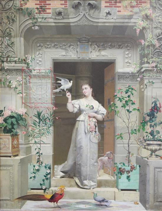 Paul Alphonse Viry (French, 1832-1913) The Doves, 21 x 16.5in.