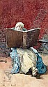 Paolo Bedini (1844-1924) Italian Lady reading a large book 10 x 5.5in., Giovanni Bedini, Click for value