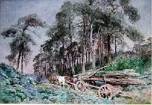 Ernest Pile Bucknall (1861-?) watercolour, Alverton Firewood, the Waggon, signed, 11 x 16 ins.