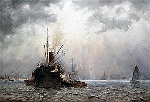 John Ernest Aitken (1881-1957) Shipping off the coast, 13.5 x 19.5in.