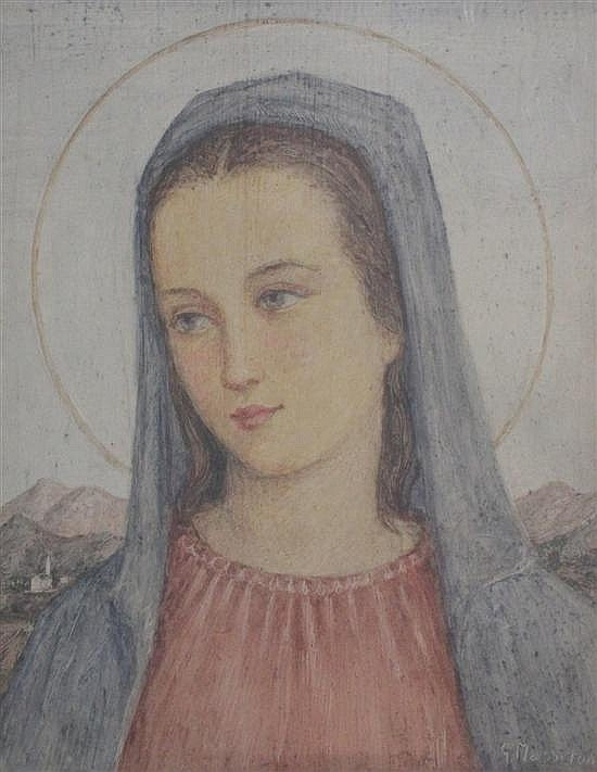 Giulio Masseroni (1900-1980) Head of the Virgin Mary, 12 x 10in.