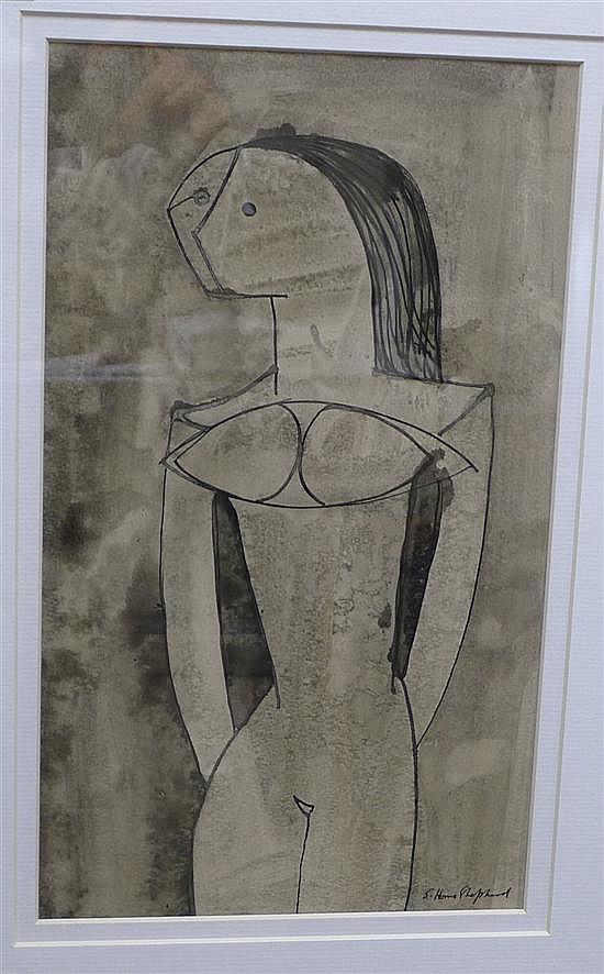Sydney D' Horne Shepherd (1909-1993) Standing nude, 14 x 8in.
