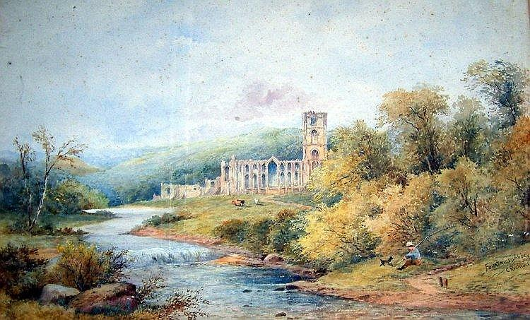 Charles Richardson (1829-1908) Fountains Abbey 11 x 18in.