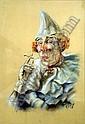 Franco Matania (1922-) Clown smoking a cigarette 21.5 x 15in., Franco Matania, Click for value