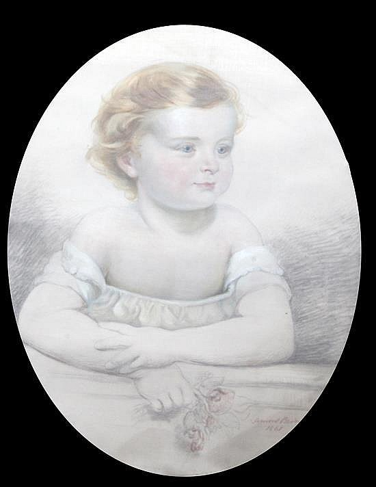 John Lamont Brodie (Exh.1881-1883) Portrait of child, oval, 24 x 18in.