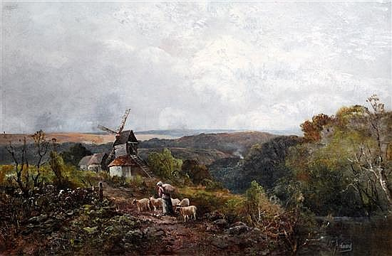 John Talbot Adams (fl.1861-1905) Alfriston, Sussex 20 x 30in.