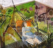 Leonard Rosoman (1913-) Woman lying in a hammock, 7.5 x 8.25in.